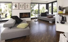 Картинка интерьер, камин, гостиная, Weber Haus, art deco style