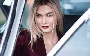 Картинка авто, взгляд, девушка, лицо, красивая, Karlie Kloss