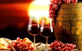 Картинка фон, вино, бокалы, виноград, бочка, скатерть