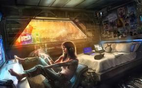 Обои Девушка, Рисунок, Будущее, Котенок, Комната, Windows, Арт, Art, Голограмма, Киберпанк, Cyberpunk