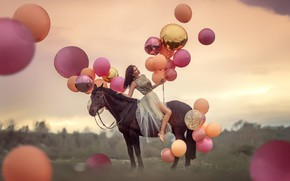 Картинка девушка, шарики, лошадь, платье, Анюта Онтикова