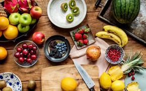 Обои клубника, яблоки, банан, ананас, фрукты, ягоды, черешня, гранат, киви, стол, арбуз