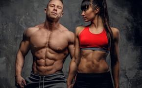 Картинка взгляд, поза, фигура, пара, фитнес, двое, muscle, мышцы, мускулы, пресс, атлет, workout, fitness, abs, bodybuilder