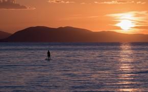 Картинка море, закат, человек, доска