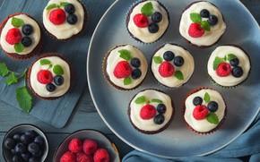 Картинка ягоды, крем, кексы, шоколадные, Anya Ivanova