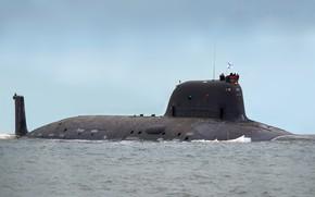 Картинка лодка, подводная, положение, атомная, Ясень, надводное