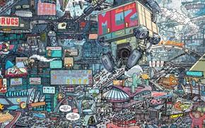Картинка Рисунок, Город, City, Art, Фантастика, Future, Judge Dredd, Cyberpunk, by Ulises Farinas, Lineart, Ulises Farinas, …