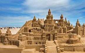 Картинка Испания, Валенсия, замок из песка, пляж Мальвароса