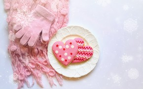 Картинка любовь, шарф, печенье, перчатки