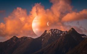 Картинка лес, небо, космос, облака, закат, горы, рендеринг, фантастика, луна, вершины, планета, приближение