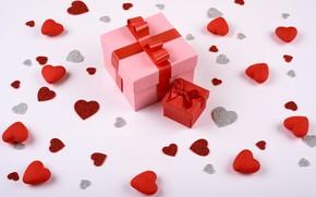 Картинка подарок, сердечки, День Святого Валентина