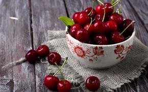 Картинка вишня, ягоды, миска