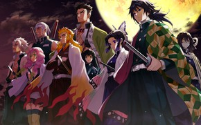 Картинка луна, персонажи, Клинок Рассекающий Демонов, Demon Slayer Kimetsu No Yaiba