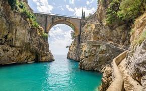Картинка мост, скалы, Италия, Амальфитанское побережье, фьорд Фуроре