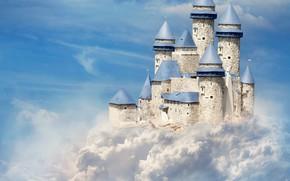 Картинка небо, облака, замок, арт