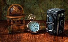 Картинка ретро, фотоаппарат, глобус