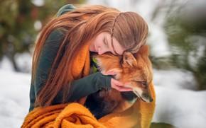 Картинка девушка, лиса, рыжая, Константин Михалёв