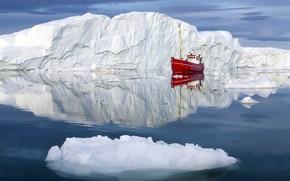 Картинка Boat, Greenland, Fishing, Ilulissat Icefjord, Icebergs
