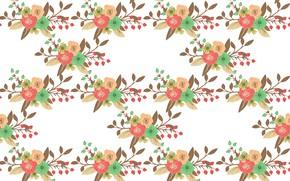 Картинка цветы, текстура, белый фон, design, pattern, Floral