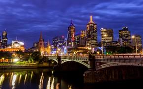 Картинка мост, огни, река, вечер, Австралия, Мельбурн