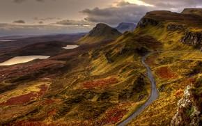 Обои облака, пейзаж, холмы, водоем, озеро, тропинка, горное, дорога, природа, горы, рельеф