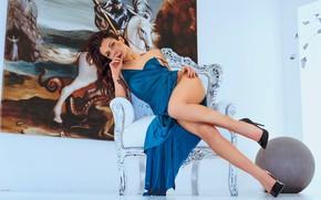 Картинка девушка, поза, ноги, шар, картина, кресло, платье, туфли, Matteo Zancan
