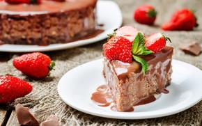 Картинка шоколад, клубника, торт, лакомство, кусочек
