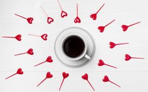 Картинка Love, кофе, сердечки, Heart