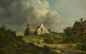 Картинка масло, картина, ветряная мельница, 1807, Ян Хулсвит, Jan Hulswit, Пейзаж в Gooi