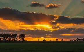Картинка облака, закат, зарево