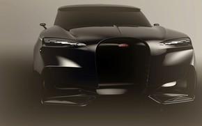 Картинка дизайн, черный, concept, мощь, джип, концепт, Bugatti SUV, Бугатти внедорожник