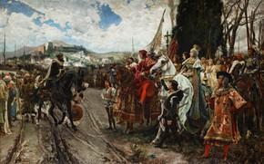 Картинка Люди, Картина, Воины, Мужчины, Капитуляция Гранады в 1492 году, Испанский исторический живописец, Франсиско Прадилья-и-Ортис, Francisco …