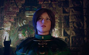 Картинка lara croft, brown eyes, hair, long, green dress, screenshot, shadow of the tomb raider, fresco, …