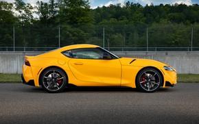 Картинка жёлтый, купе, Toyota, вид сбоку, Supra, пятое поколение, mk5, двухместное, 2020, GR Supra, A90, Gazoo …