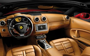 Картинка кожа, руль, Ferrari, салон, California, 2008–12