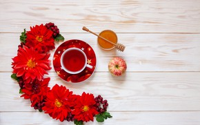 Картинка цветы, чай, яблоко, мед, чашка, красные