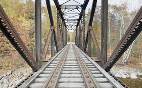 Картинка мост, фон, железная дорога
