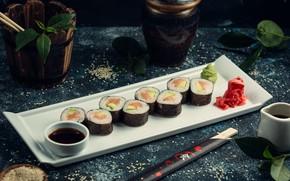 Картинка палочки, тарелка, рис, соус, суши, кунжут, васаби, имбирь, авокадо, соевый соус, лосось, нори