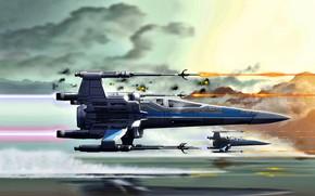 Картинка Star Wars, X-wing, T-65, лучший истребитель Флота Повстанцев, Повстанческий Альянс, космический истребитель
