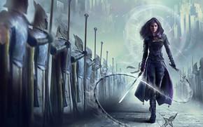 Картинка девушка, фантастика, меч, армия, арт, солдаты, плащ, хлыст