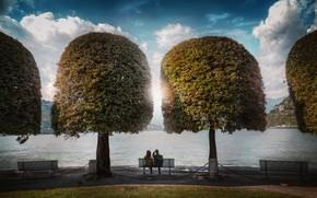 Картинка парк, скамья, Lake Como