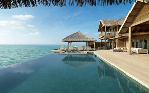Картинка Мальдивы, отель, море, бунгало, бассейн