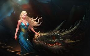 Картинка Girl, Fantasy, Game of Thrones, Игра престолов, Daenerys Targaryen, Дейенерис Таргариен, Персонаж, Mother of Dragons, …