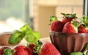 Картинка миска, ягоды, фон, клубника