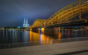 Картинка мост, огни, вечер, Германия, подсветка, набережная, Кёльн