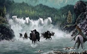 Картинка Вода, Эльфийка, Лошади, The Lord of the Rings, Арвен, Назгулы, Властелин Колец:Братство кольца