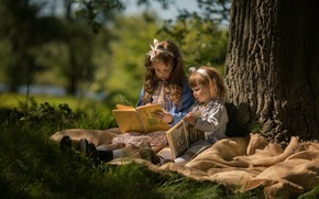 Картинка осень, девочки, книги
