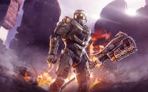 Картинка оружие, воин, искры, шлем, Halo, броня