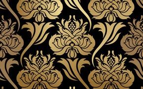 Картинка цветы, фон, узор, черный, золотой