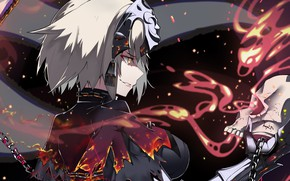 Картинка девушка, улыбка, огонь, аниме, Fate / Grand Order, Судьба великая кампания